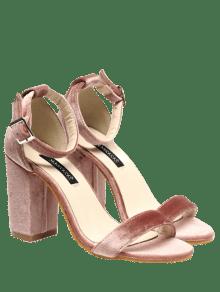 Sandales En Velours à Lanières De Chevilles - Rose PÂle 39