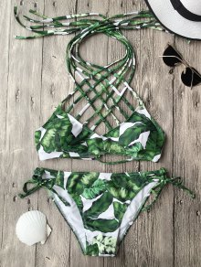 Convertible Tropical Print Strappy Bathing Suit
