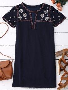 Embroidered Shift Ethnic Dress - Black Blue S