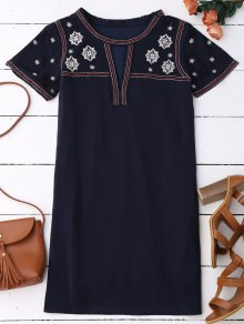 Embroidered Shift Ethnic Dress