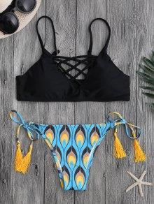 Peacock Print Strappy String Bikini