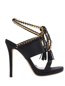 Chains Lace Up Tassels Sandals - Black 37
