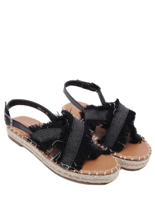 Espadrilles Buckle Strap Denim Sandals
