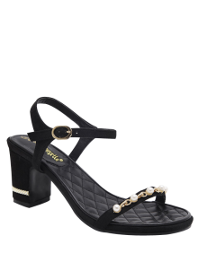 Suede Block Heel Faux Pearls Sandals - Black 38