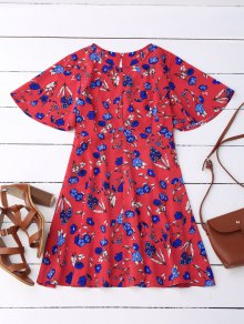 Floral Split Back Dress - Red S