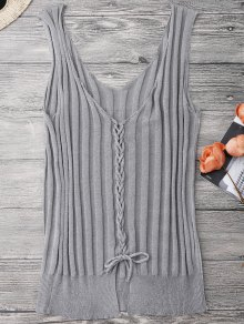 Ribbed Encaje Hasta Tank Top - Gris