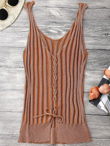 Ribbed Lace Up Tank Top - Orangepink