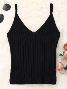 Knitted Ribbed Tank Top - Black