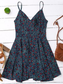 Slip Leaf Print Surplice Skater Dress - L