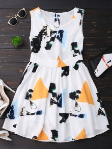 Print Back Buttoned Sleeveless Holiday Dress - Yellow