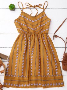 Argyle Print Slip Fit And Flare Dress - Earthy