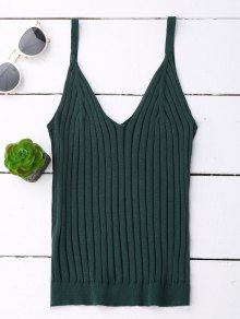 V Neck Ribbed Knited Tank Top