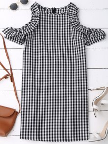 Cold Shoulder Ruffle Plaid Dress - Checked