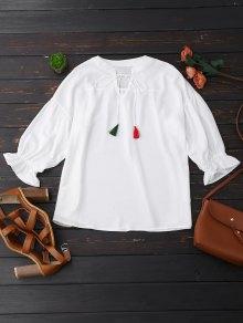 Oversized Tassel Tie Neck Chiffon Blouse - White M