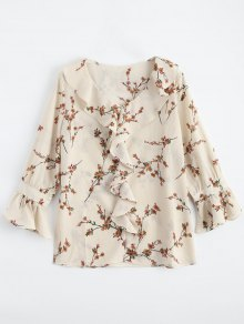 Ruffle Floral Flare Sleeve Blouse