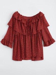 Oversized Ruffle Print Chiffon Blouse - Red
