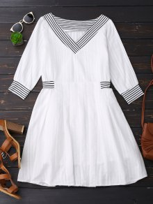 V Neck Linen Dress With Stripes - White