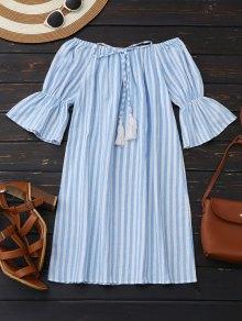 Off Shoulder Drawstring Striped Dress - Light Blue