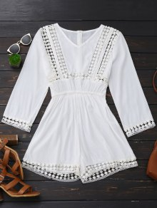 Long Sleeve Hollow Out V Neck Romper