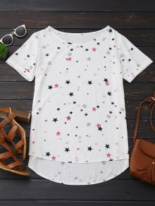 High Low Star Print Oversized Top