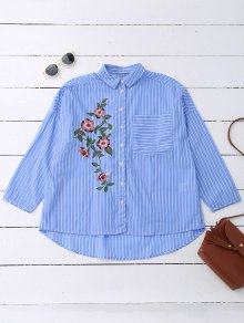 Oversized Striped Floral Embroidered Pocket Shirt