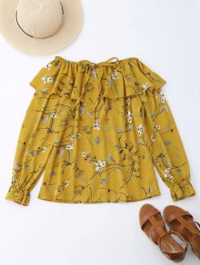 Off Shoulder Ruffle Drawstring Floral Blouse - Yellow