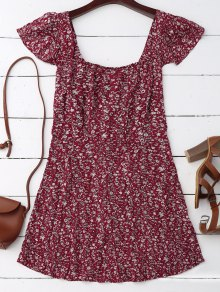 Cap Sleeve Tie Back Tiny Floral Dress - Deep Red
