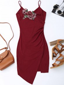 Floral Patched Asymmetrical Surplice Dress - Wine Red