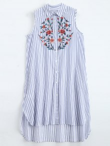 Sleeveless Floral Embroidered Striped Shirt Dress