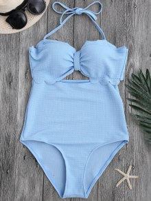 Cut Out High Leg Scalloped Swimwear - Light Blue Xl