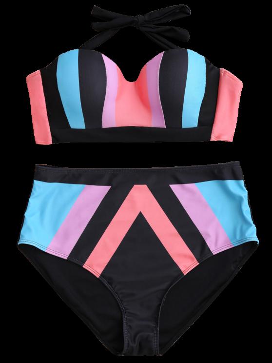 Color Block Halter Plus Size Bikini - COLORMIX XL Mobile