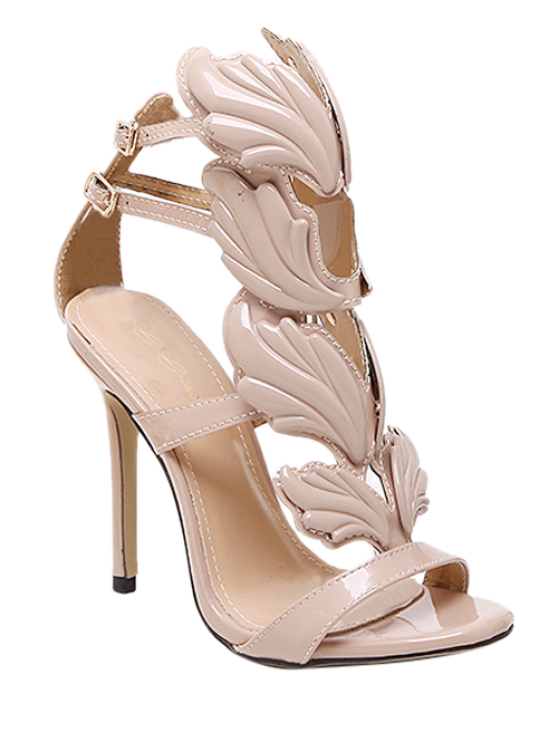 chic Mini Heel Double Buckle Strap Sandals - NUDE 38