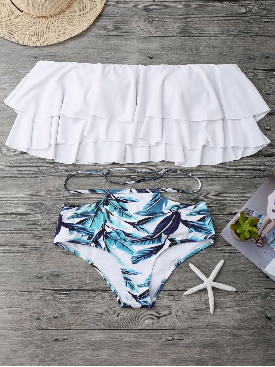 Traje de Bikini Fuera del Hombro con Volantes Estratificados - Blanco L
