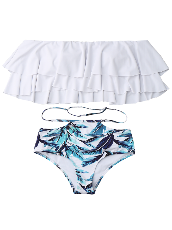 Flounce Layers Off The Shoulder Bikini Set - WHITE S Mobile