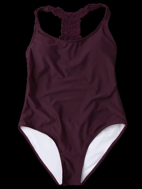 Macrame Open Back One Piece Swimsuit - MERLOT L Mobile