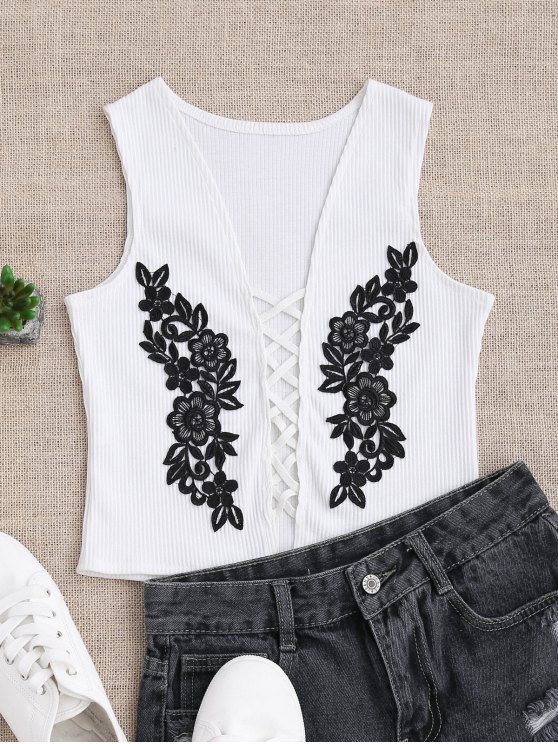 chic Strappy Floral Applique Sleepwear Top - WHITE S