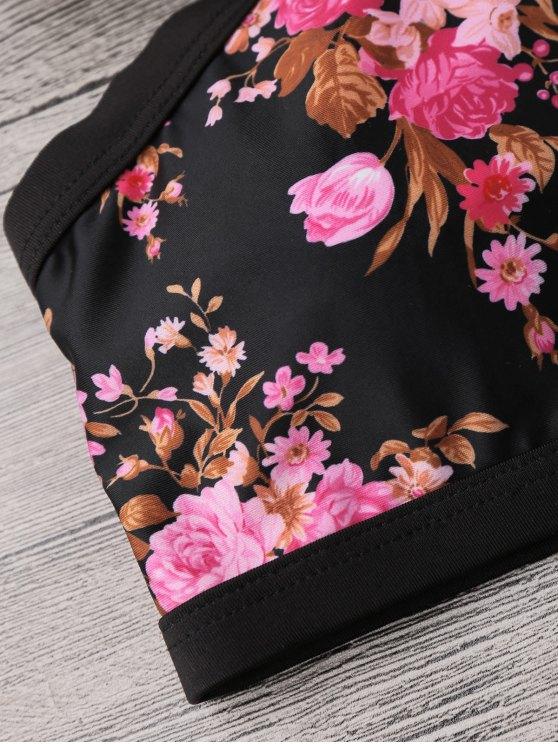 Floral Banded Strappy Bikini Set - BLACK XL Mobile