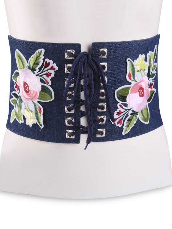 Lace Up Floral Embroidery Wide Leather Belt - CERULEAN  Mobile