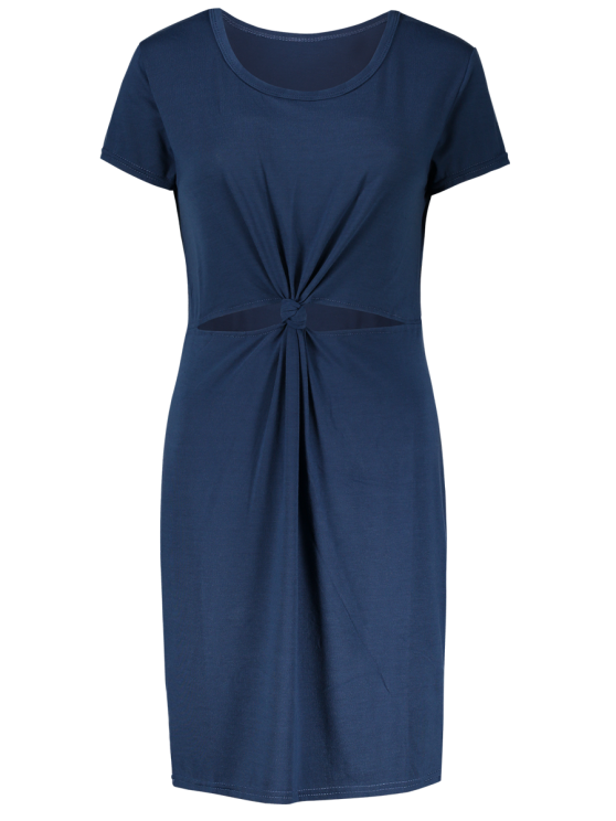 Cut Out Front Twist Bodycon Dress - BLUE XL Mobile