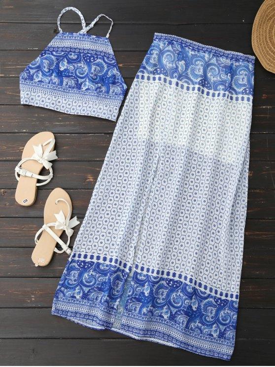 shop Backless Crop Top and High Slit Skirt - BLUE S