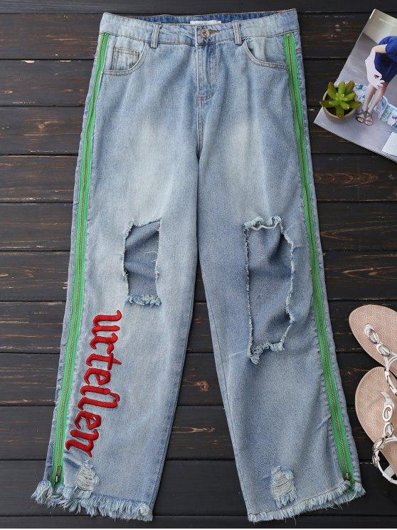 Pantalons de fermeture éclair enfilés - Bleu clair S