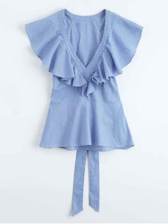 lady Plunge Ruffle Striped Top With Belt - BLUE L