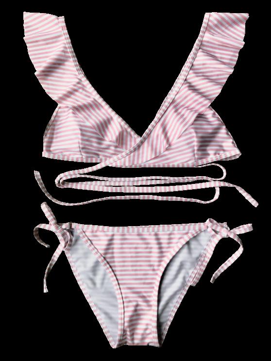 Striped Ruffles Strap Wrap String Bikini Set - PINK S Mobile