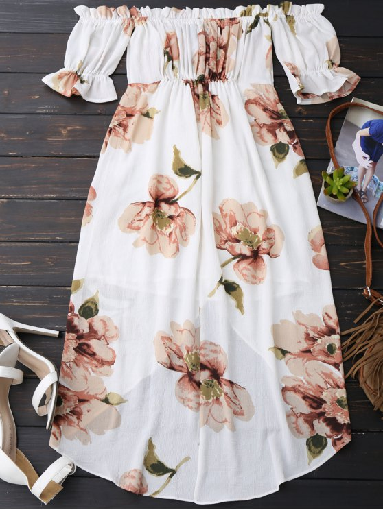 Off Shoulder Ruffle Asymmetric Floral Dress - WHITE S Mobile