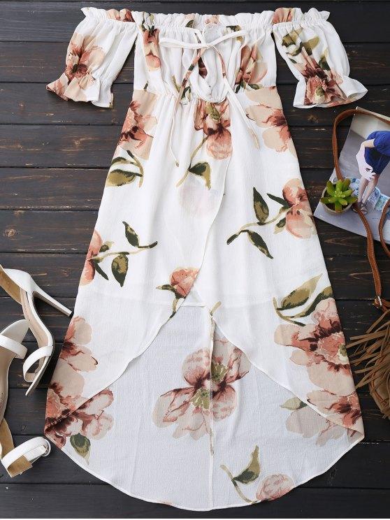 Off Shoulder Ruffle Asymmetric Floral Dress - WHITE L Mobile