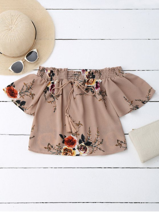 outfit Off Shoulder Floral Cropped Blouse - DARK NUDE M