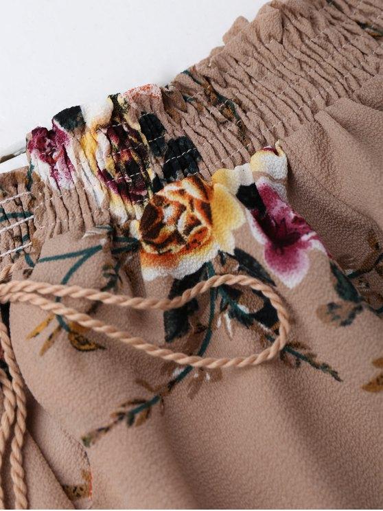 Off Shoulder Floral Cropped Blouse - DARK NUDE L Mobile