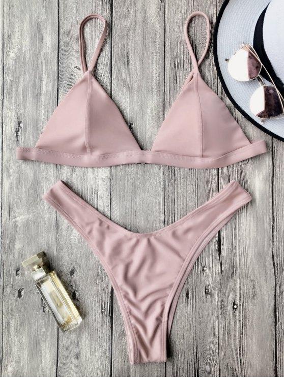 Correas de espagueti acolchadas bikini tanga - Rosa L