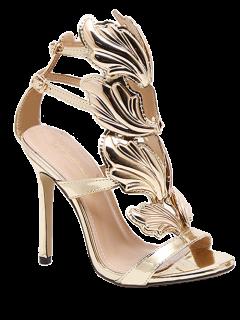 Mini Heel Double Buckle Strap Sandals - Golden 38