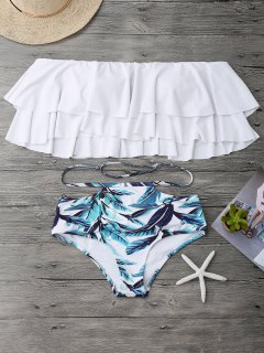 Flounce Layers Off The Shoulder Bikini Set - White S